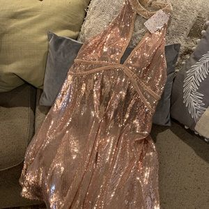 Sequin rose gold free people dress